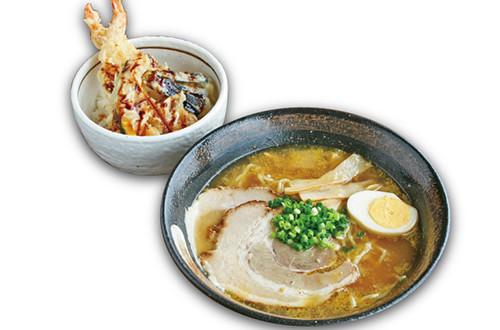 ラーメンとミニ天丼セット(醤油・味噌・塩)
