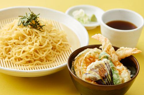 ざるラーメンとミニ天丼セット